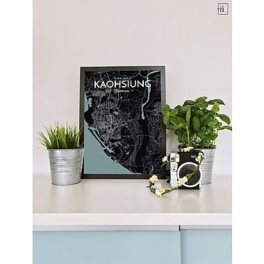 OurPoster.com 'Kaohsiung City Map' Graphic Art Print Poster in Midnight; 17'' H x 11'' W