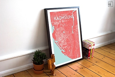 OurPoster.com 'Kaohsiung City Map' Graphic Art Print Poster in Maritime; 24'' H x 18'' W