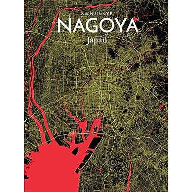 OurPoster.com 'Nagoya City Map' Graphic Art Print Poster in Contrast; 20'' H x 16'' W