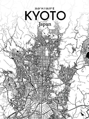 OurPoster.com 'Kyoto City Map' Graphic Art Print Poster in Ink; 24'' H x 18'' W