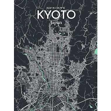 OurPoster.com 'Kyoto City Map' Graphic Art Print Poster in Dream; 36'' H x 24'' W