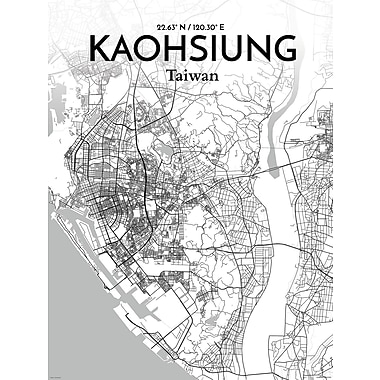OurPoster.com 'Kaohsiung City Map' Graphic Art Print Poster in Tones; 24'' H x 18'' W