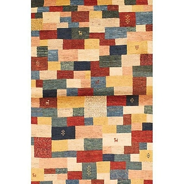 Pasargad NY Gabbeh Hand-Knotted Wool Red/Blue Area Rug