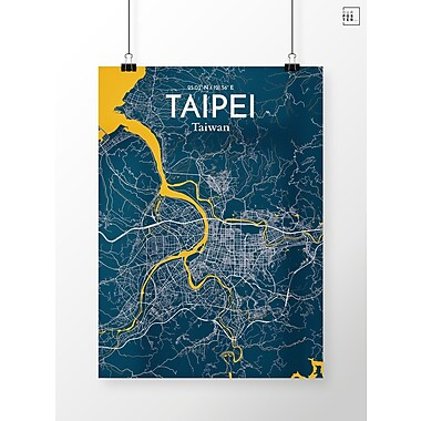 OurPoster.com 'Taipei City Map' Graphic Art Print Poster in Amuse; 27.56'' H x 19.69'' W