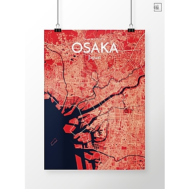 OurPoster.com 'Osaka City Map' Graphic Art Print Poster in Nautical; 24'' H x 18'' W