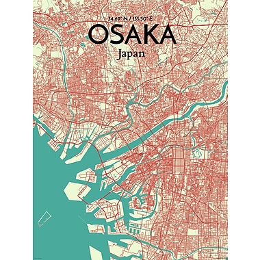 OurPoster.com 'Osaka City Map' Graphic Art Print Poster in Tricolor; 17'' H x 11'' W
