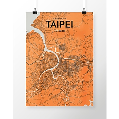 OurPoster.com 'Taipei City Map' Graphic Art Print Poster in Orange; 20'' H x 16'' W