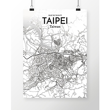 OurPoster.com 'Taipei City Map' Graphic Art Print Poster in Tones; 24'' H x 18'' W