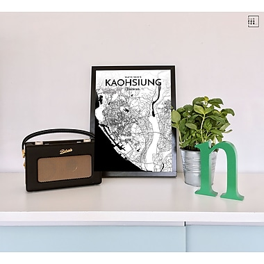 OurPoster.com 'Kaohsiung City Map' Graphic Art Print Poster in Ink; 17'' H x 11'' W