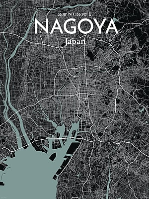 OurPoster.com 'Nagoya City Map' Graphic Art Print Poster in Midnight; 27.56'' H x 19.69'' W