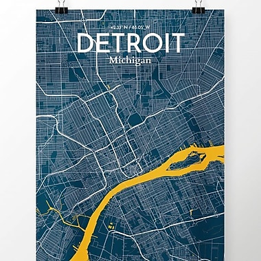 OurPoster.com 'Detroit City Map' Graphic Art Print Poster in Amuse; 27.56'' H x 19.69'' W