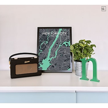 OurPoster.com 'New York City Map' Graphic Art Print Poster in Dream; 27.56'' H x 19.69'' W