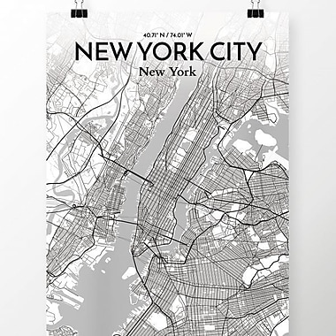 OurPoster.com 'New York City Map' Graphic Art Print Poster in Tones; 24'' H x 18'' W