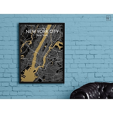 OurPoster.com 'New York City Map' Graphic Art Print Poster in Luxe; 27.56'' H x 19.69'' W