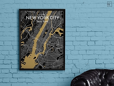 OurPoster.com 'New York City Map' Graphic Art Print Poster in Luxe; 24'' H x 18'' W