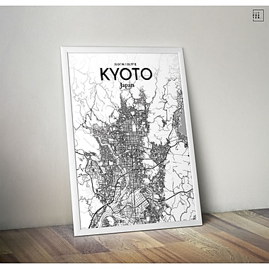 OurPoster.com 'Kyoto City Map' Graphic Art Print Poster in Tones; 20'' H x 16'' W