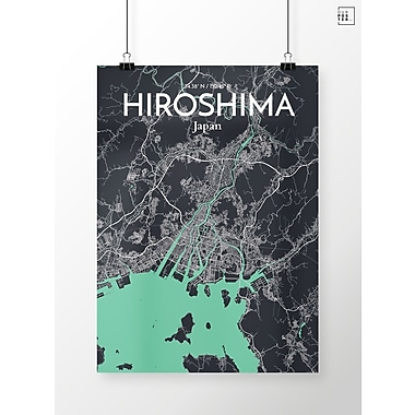 OurPoster.com 'Hiroshima City Map' Graphic Art Print Poster in Dream; 36'' H x 24'' W