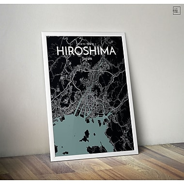 OurPoster.com 'Hiroshima City Map' Graphic Art Print Poster in Midnight; 17'' H x 11'' W