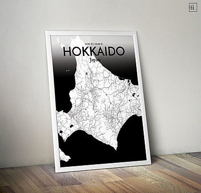 OurPoster.com 'Hokkaido City Map' Graphic Art Print Poster in Ink; 36'' H x 24'' W