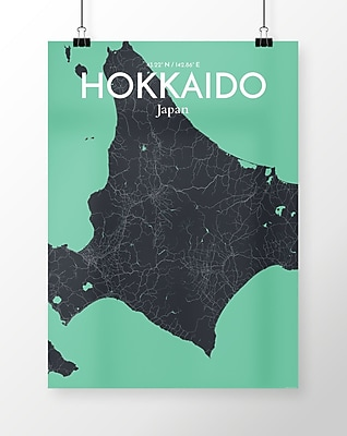 OurPoster.com 'Hokkaido City Map' Graphic Art Print Poster in Dream; 36'' H x 24'' W