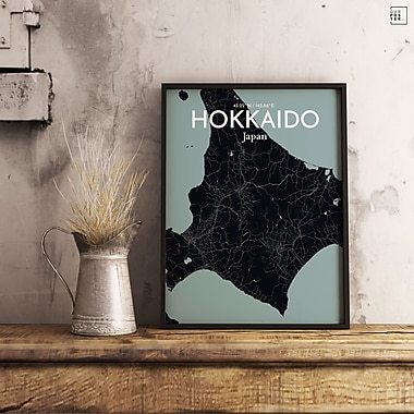 OurPoster.com 'Hokkaido City Map' Graphic Art Print Poster in Midnight; 17'' H x 11'' W