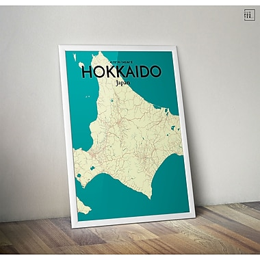 OurPoster.com 'Hokkaido City Map' Graphic Art Print Poster in Tricolor; 20'' H x 16'' W