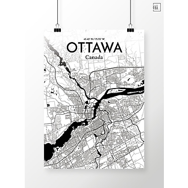 OurPoster.com 'Ottawa City Map' Graphic Art Print Poster in Ink; 20'' H x 16'' W