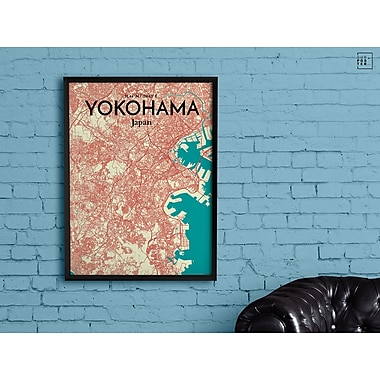 OurPoster.com 'Yokohama City Map' Graphic Art Print Poster in Tricolor; 36'' H x 24'' W
