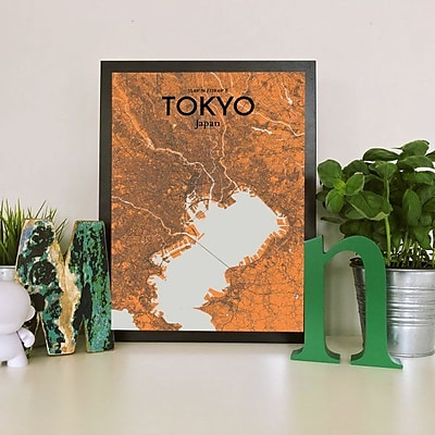 OurPoster.com 'Tokyo City Map' Graphic Art Print Poster in Orange; 20'' H x 16'' W