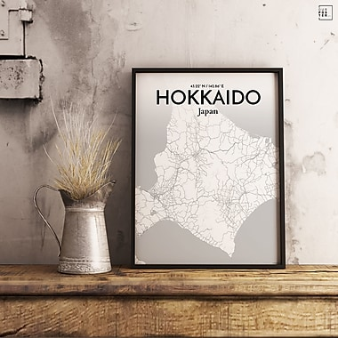 OurPoster.com 'Hokkaido City Map' Graphic Art Print Poster in Tones; 36'' H x 24'' W