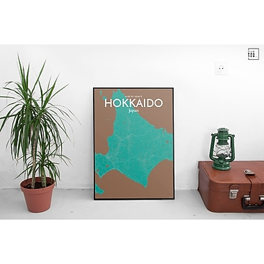 OurPoster.com 'Hokkaido City Map' Graphic Art Print Poster in Nature; 24'' H x 18'' W
