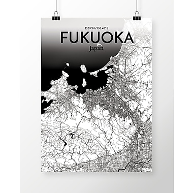 OurPoster.com 'Fukuoka City Map' Graphic Art Print Poster in Ink; 24'' H x 18'' W