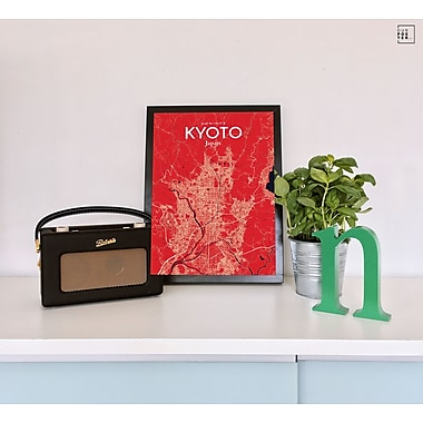 OurPoster.com 'Kyoto City Map' Graphic Art Print Poster in Nautical; 24'' H x 18'' W