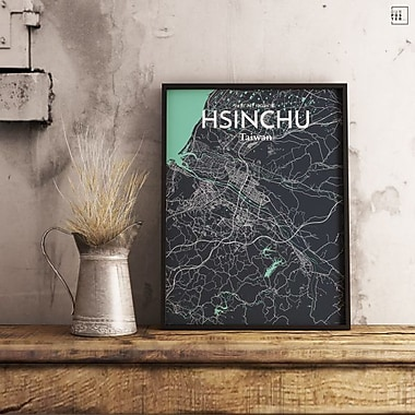 OurPoster.com 'Hsinchu City Map' Graphic Art Print Poster in Dream; 36'' H x 24'' W