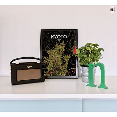 OurPoster.com 'Kyoto City Map' Graphic Art Print Poster in Contrast; 36'' H x 24'' W
