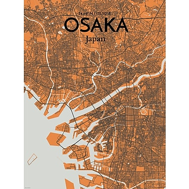 OurPoster.com 'Osaka City Map' Graphic Art Print Poster in Gray/Orange; 24'' H x 18'' W