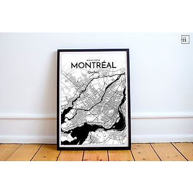 OurPoster.com 'Montreal City Map' Graphic Art Print Poster in Ink; 36'' H x 24'' W