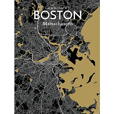 OurPoster.com 'Boston City Map' Graphic Art Print Poster in Luxe; 27.56'' H x 19.69'' W