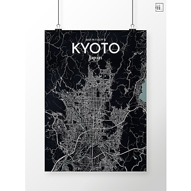 OurPoster.com 'Kyoto City Map' Graphic Art Print Poster in Midnight; 20'' H x 16'' W
