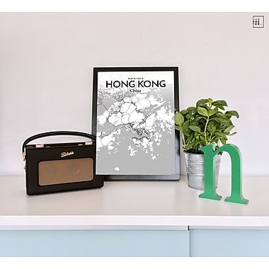 OurPoster.com 'Hong Kong City Map' Graphic Art Print Poster in Tones; 17'' H x 11'' W