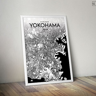 OurPoster.com 'Yokohama City Map' Graphic Art Print Poster in Ink; 27.56'' H x 19.69'' W