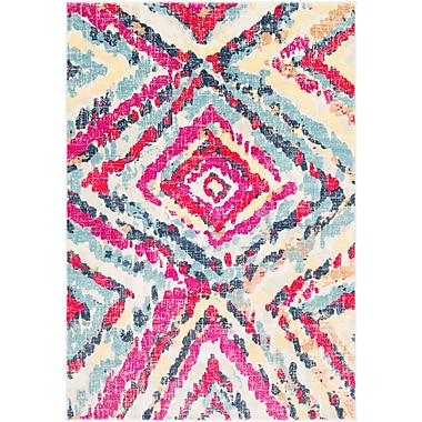 Mercer41 Aule Vibrant Distressed Pink/Bright Red Area Rug; 5'3'' x 7'6''