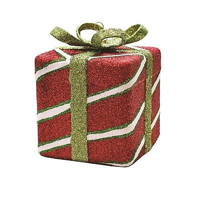 The Holiday Aisle Merry and Bright Xmas Glitter Stripe Shatterproof Gift Box Christmas Ornament