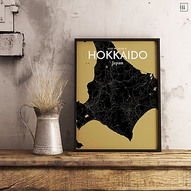 OurPoster.com 'Hokkaido City Map' Graphic Art Print Poster in Luxe; 36'' H x 24'' W