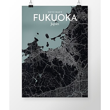 OurPoster.com 'Fukuoka City Map' Graphic Art Print Poster in Midnight; 17'' H x 11'' W