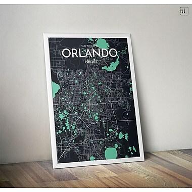 OurPoster.com 'Orlando City Map' Graphic Art Print Poster in Dream; 17'' H x 11'' W