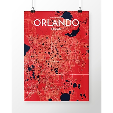 OurPoster.com 'Orlando City Map' Graphic Art Print Poster in Nautical; 36'' H x 24'' W