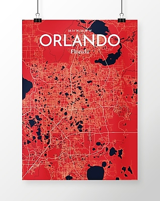 OurPoster.com 'Orlando City Map' Graphic Art Print Poster in Nautical; 24'' H x 18'' W