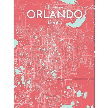 OurPoster.com 'Orlando City Map' Graphic Art Print Poster in Maritime; 20'' H x 16'' W