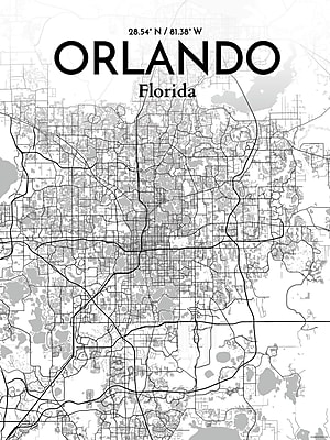OurPoster.com 'Orlando City Map' Graphic Art Print Poster in Tones; 17'' H x 11'' W